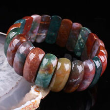 "HOT ! Multicolor Jasper Agate Beads Gemstone Stretchy Bracelet Bangle 7.5""L"