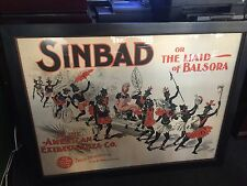 """1891 CHICAGO OPERA HOUSE """"SINBAD"""" Play Cromeo Lithograph Poster  """"Watch Video"""""""