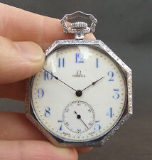 1911 OMEGA 15J OCTAGON ART DECO POCKET WATCH SWISS OPEN FACE MEN ENAMEL DIAL