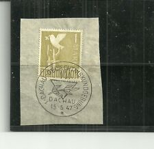 GERMANY- 1947 SPECIAL DACHAU CANCEL ON DOVE OF PEACE STAMP