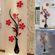 3D Flower DIY Mirror Wall Decals Stickers Art Home Room Vinyl Decor Accessories