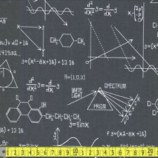 Robert Kaufman Fabric Science Fair Calculations Grey PER METRE Chemistry Science