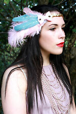 PASTEL BRIDAL PINK BLUE BOW FEATHER 1920'S FLAPPER HEAD DRESS HEAD BAND