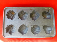 Vintage Eight Cavity Cast Iron Fruit Vegetable Baking Pan Forms