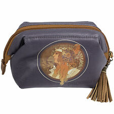 Mucha Art Nouveau Tassel Cosmetics Zip Bag Makeup Lipstick Travel Storage Case