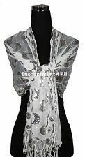 Handmad Lace PAISLEY Art Scarf Wrap w/ Sequin & Crochet Fringe, Off White/Silver