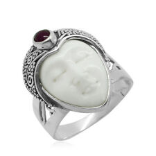 Bali Princess CARVED Bone IMAGE , African RUBY RING in Sterling Silver 0.75 Cts.