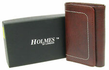 MENS BROWN REAL LEATHER TRI-FOLD WALLET NOTES KEY CHAIN HOLDER GIFT BOX UK NEW