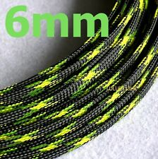 6mm BLACK GREEN Expandable Braided DENSE PET Cable Sleeve Audio PC Wire Diy