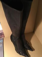 Christian Dior Brown Stretch Leather Buckled Knee High Fashion Boots Size 38.5