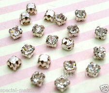 20 pcs Sew on Cut Glass Crystals 4mm in Silver Settings montees 4 holes bead