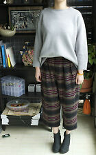 High Waist Woolen Stripes Wide Leg Low Crotch Pants 10