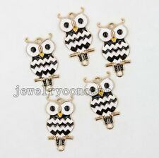 10pcs Wholesale Black&White Enamel Owl Alloy Connector Jewelry Handmade DIY L