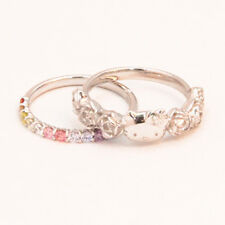 New in July SANRIO HELLO KITTY Rose & Rainbow set ring  JAPAN  Limited RARE