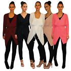 Womens Ladies Belted Long Sleeve Waterfall Duster  Coat/ Jacket