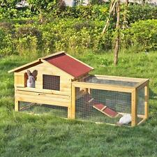 "62"" Large Poultry Goose Wooden Chicken Coop Pet House Run Nest Box Backyard L9E4"