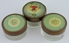 ANTIQUE POWDER OR CREAM GLASS TIN FLORAL LID JAR/CONTAINER SET OF 3 VANITY