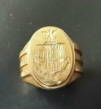 Amazing and Unique 14k gold crest ring with Art Deco shank.