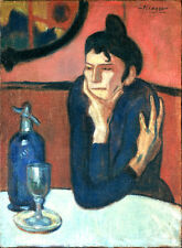 "Pablo Picasso ""The absinthe drinker"" MUSEUM QUALITY GICLEE 8.3X11.7 CANVAS PRINT"
