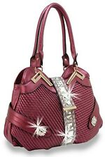 Quilted Fashion Handbag  Rhinestone and Large Gem Accent