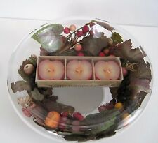 Christmas Fall Decor Centerpiece Bowl w Apple Floating Candles Rolled Edge Glass