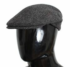 NWT $260 DOLCE & GABBANA Hat Cap Newsboy Gray Tweed Wool Cabbie Flats s. 59 / L