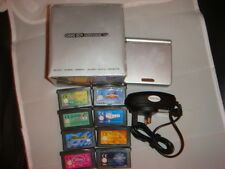 BOXED NINTENDO GAMEBOY ADVANCE GBA SP SILVER CONSOLE WITH GAMES BUNDLE