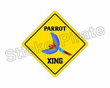 "*Aluminum* Parrot Crossing Funny Metal Novelty Sign 12""x12"""