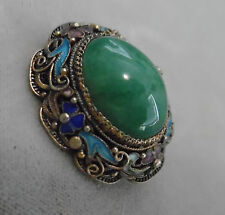 EARLY CHINA SILVER BROOCH W, JADE AND ENAMEL  BEAUTIFUL DETAIL FRAME