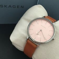 NWT Skagen Anita Classic Watch SKW2406 Women's Brown Leather Strap Pink Dial