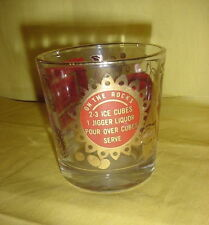 OLD FASHIONED GLASS RED WHITE GOLD MIXED DRINK RECIPES VINTAGE RETRO BAR EC