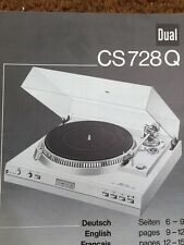 "Dual CS728Q Turntable ""Original"" Owners Manual 2 to 3 Pages of English"