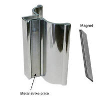Bright Chrome Frameless Shower Door Handle with Metal Strike and Magnet - Set