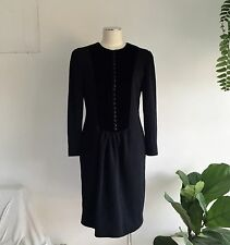 Vintage Black Wool Knit Oscar De La Renta Winter Dress