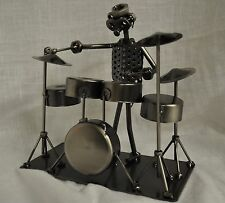 DRUMMER NUTS AND BOLTS METAL FIGURE SCULPTURE DRUMMER GIFT
