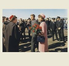 John F Kennedy + Jackie Dallas Arrival PHOTO Red Roses Pink Suit, Assassination