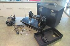 1946 Scroll Face Singer FEATHERWEIGHT Sewing Machine w Access & Case + Tray