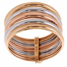 EternaGold Polished Tri-color Five Band Tube 14K Gold Ring Size 5 QVC