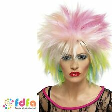 80s MULTI COLOUR PUNK ROCKER WILD CHILD ATTITUDE WIG - womens ladies fancy dress
