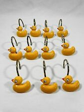 Shower Curtain Hooks Set of 11 Yellow Rubber Ducky Duckies Wiggle Eyes