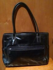 FOSSIL Black Leather Large Tote Shoulder Bag Laptop Business Brief