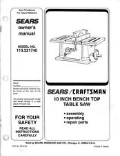 "1994 Craftsman 113.221740 10"" bench-top tablesaw Instructions"