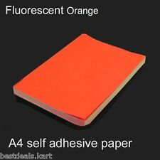 20 PCS A4 SIZE FLUORESCENT ORANGE COLOUR SELF ADHESIVE / STICKER LABELS SHEETS