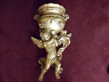 """Golden Cherub with Pot Wall Plaques Vintage Home Interiors  16 """""""