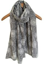 LADIES PRETTY GREY WITH WHITE  FLORAL MIX  PRINT LINEN MIX SCARF WRAP