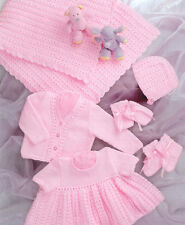 knitting pattern baby Dress Cardigan Shawl Hat Bootees  Mitts prem 12 /20 in dk
