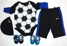 5-Piece Gift Set AIR NIKE Baby Boys Bodysuit/Romper, Pants ,booties & Cap 0-3 M