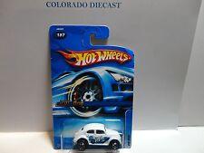 2006 Hot Wheels #197 White VW Bug w/5 Spoke Wheels