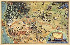 1933 PICTORIAL map Young Forty-Niners childrens radio show POSTER 8380001
