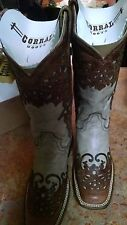 Corral NIB Women  Square Toe Leather Nude Western Boot SIZE 6 M.